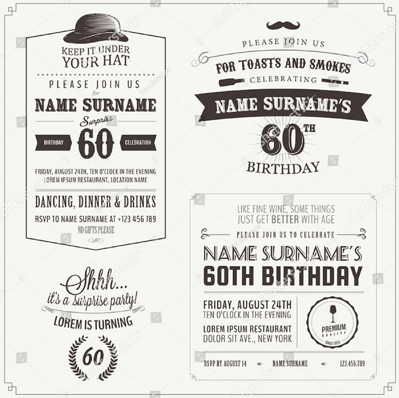 vintage adult birthday invitation