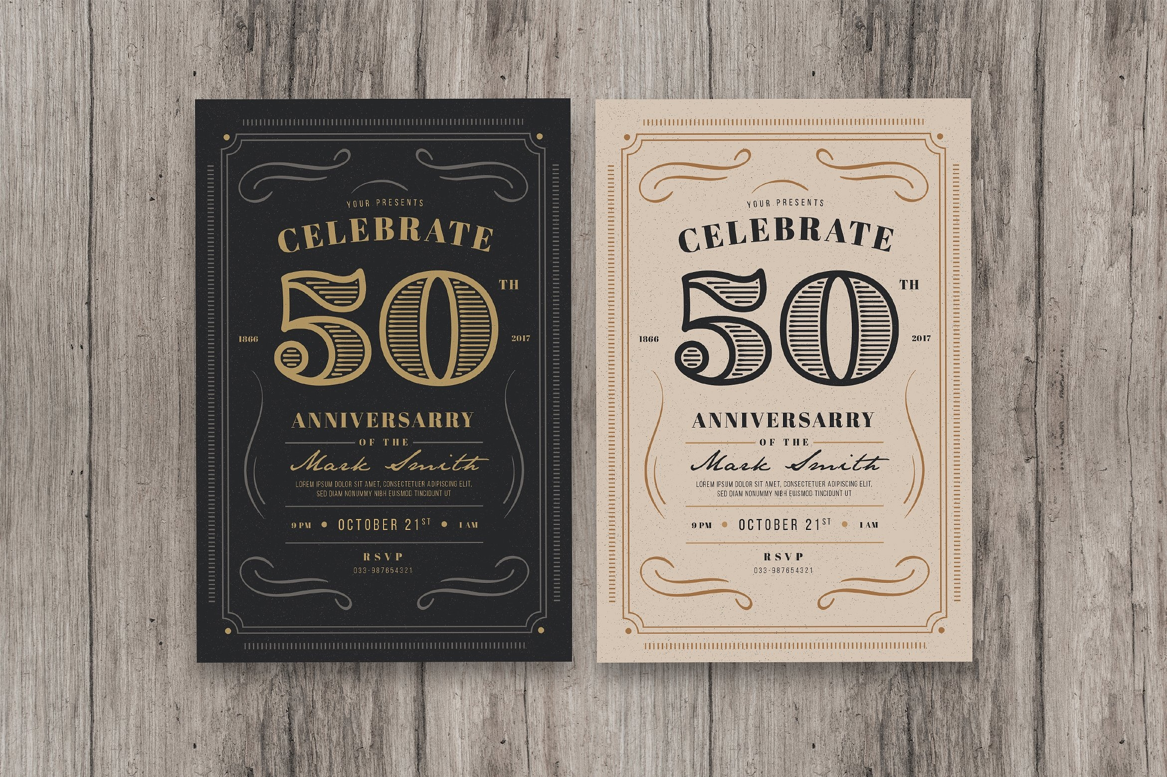vintage anniversary party invitation