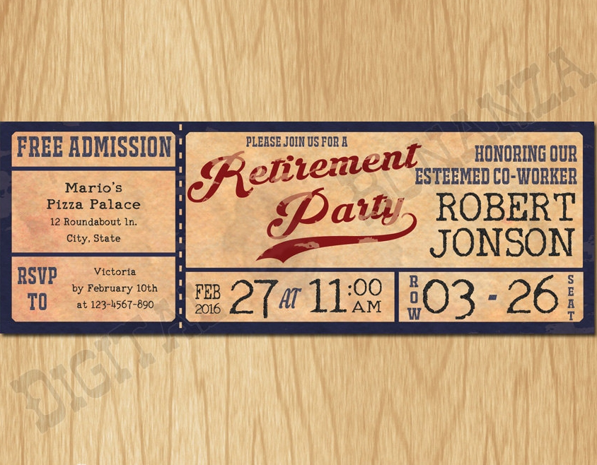 vintage baseball retirement party invitation