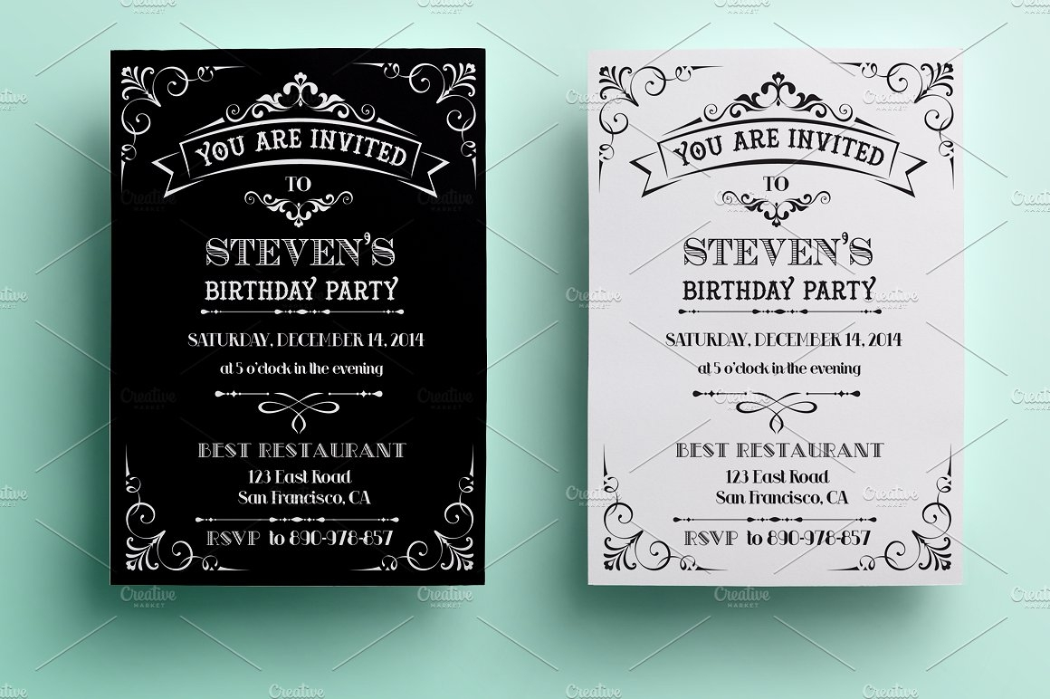 vintage birthday invitation1