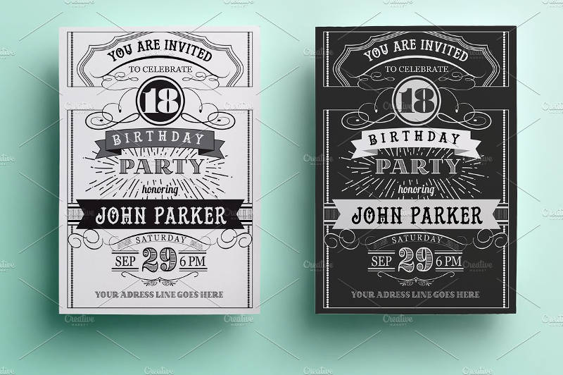 vintage birthday party celebrate invitation