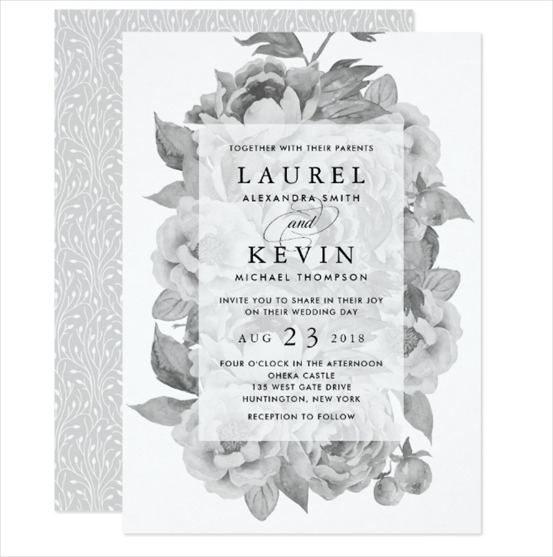 vintage black white floral wedding invitation1
