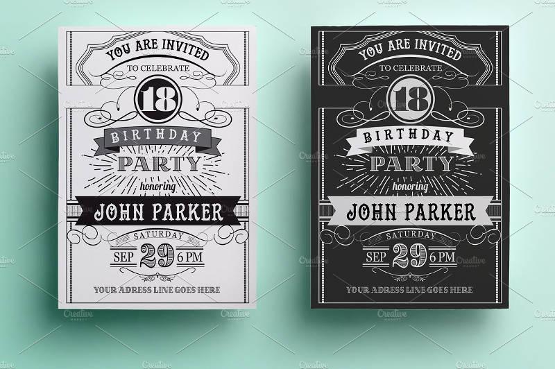 vintage black and white birthday invitation