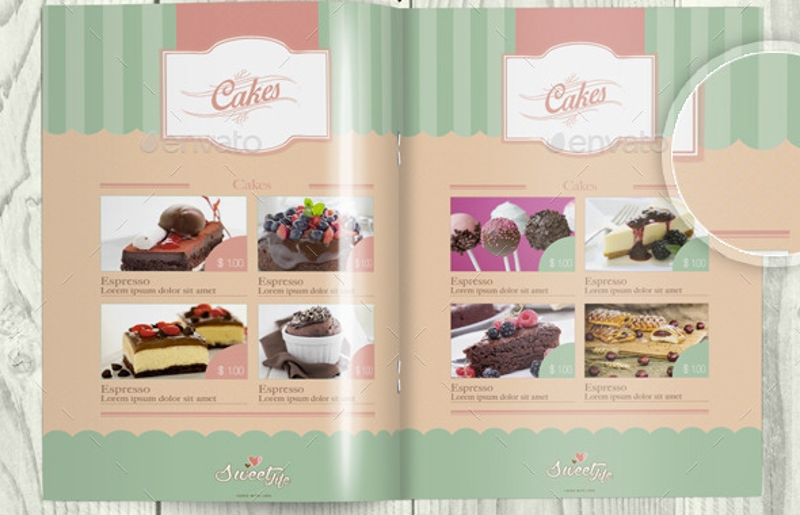 vintage cake menu brochure template