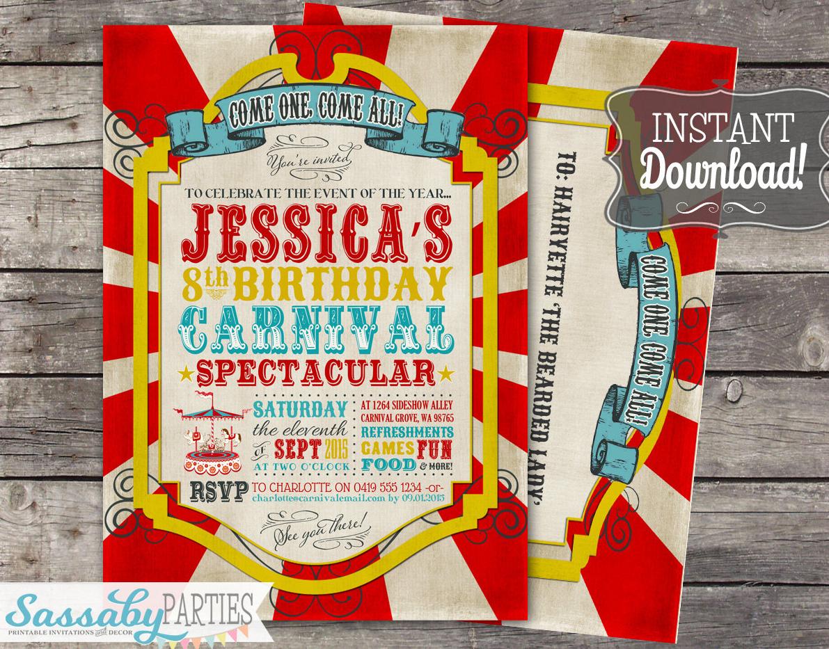 vintage carnival invitation