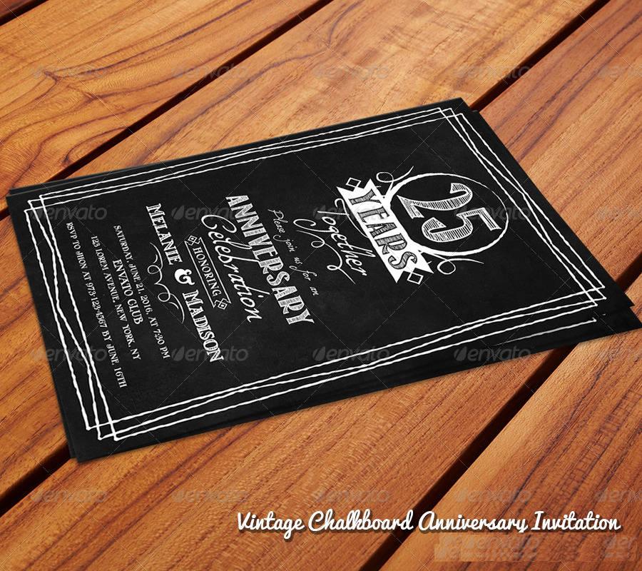 vintage chalkboard anniversary invitation