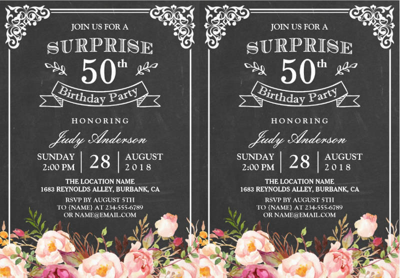 vintage chalkboard floral surprise birthday party invitation card