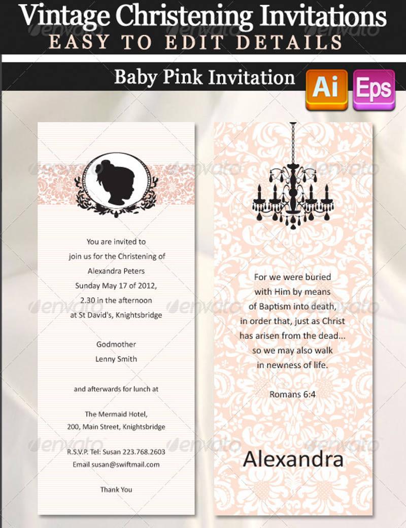 vintage christening invitation design