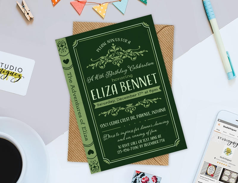 vintage debut invitation