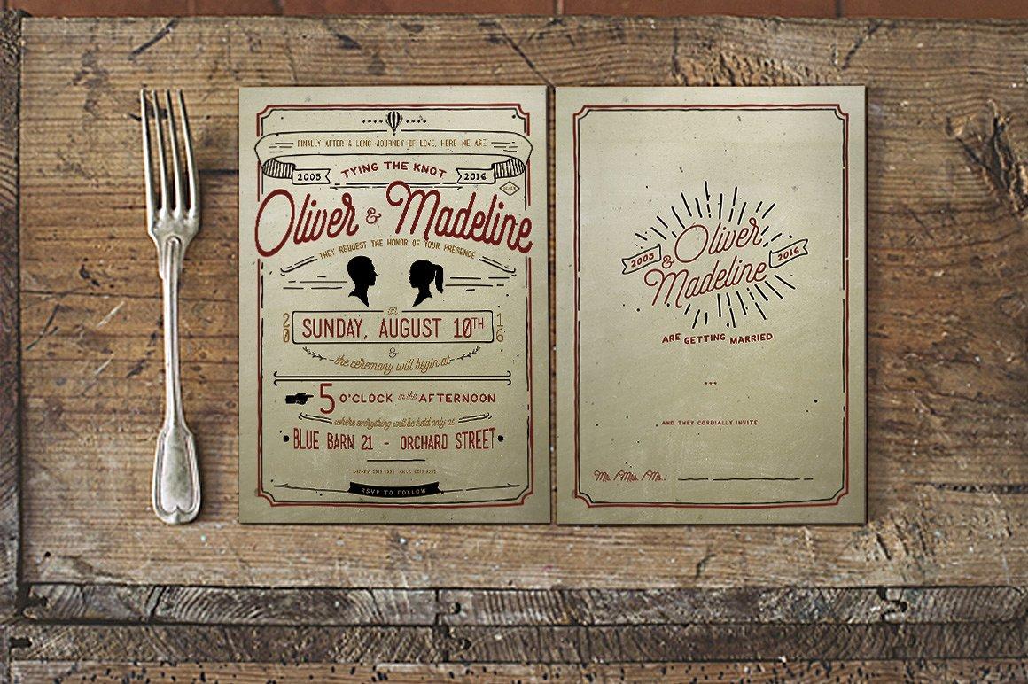 vintage hand lettering invitation