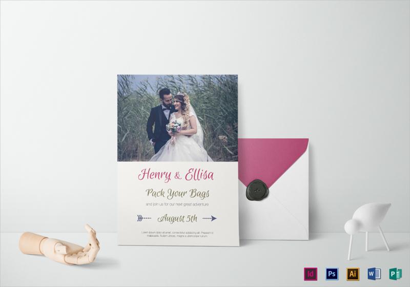vintage journey wedding invitation template