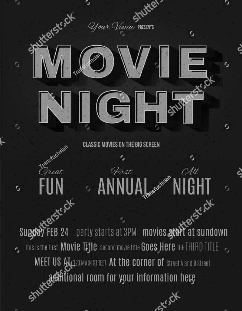 vintage movie night invitation