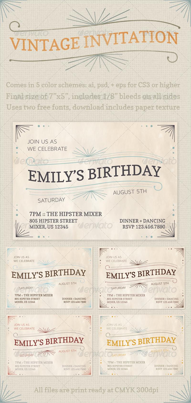 vintage party invitation1