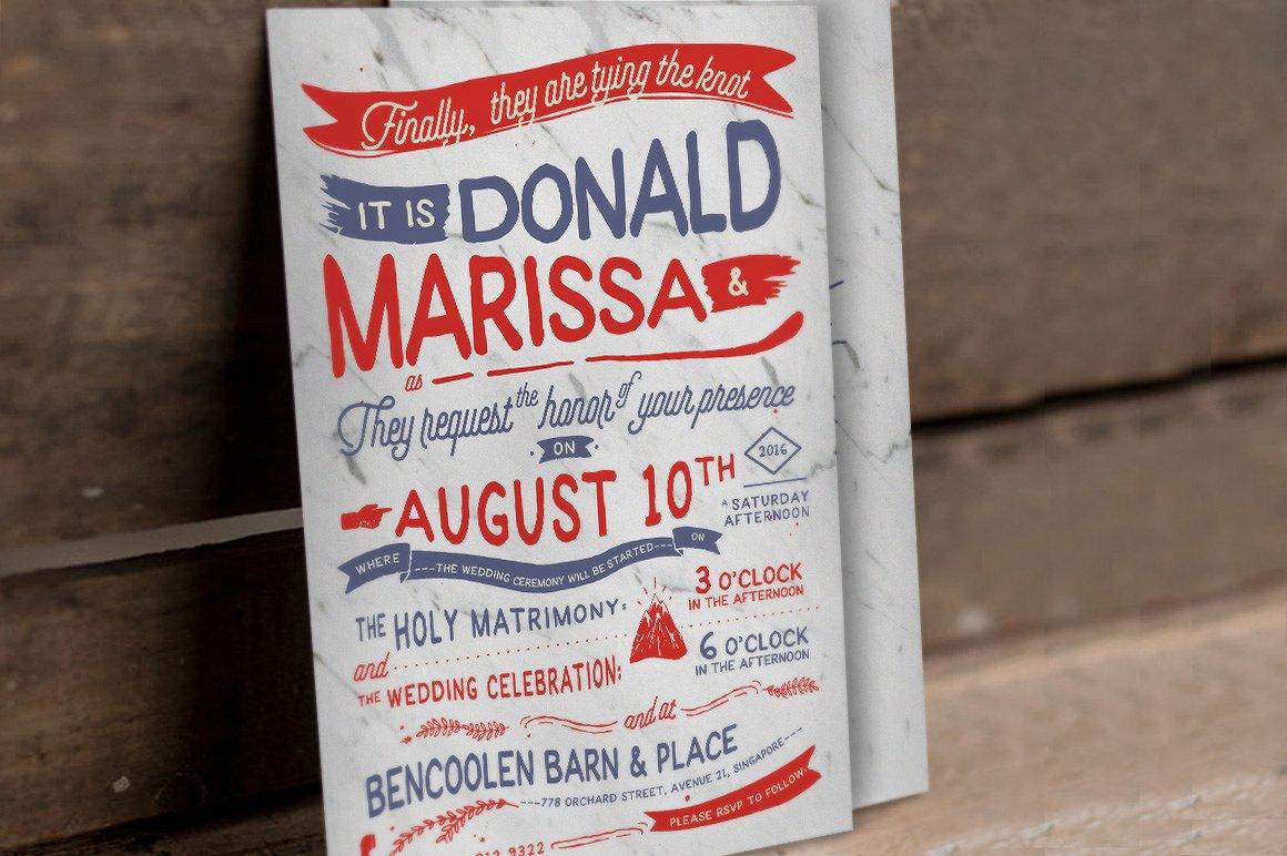 vintage rustic hand lettering invitation