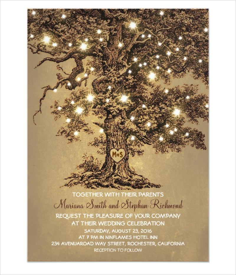 vintage string lights tree rustic wedding invitation