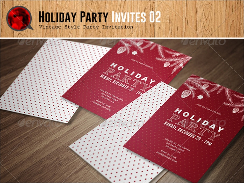 vintage style holiday party invitation