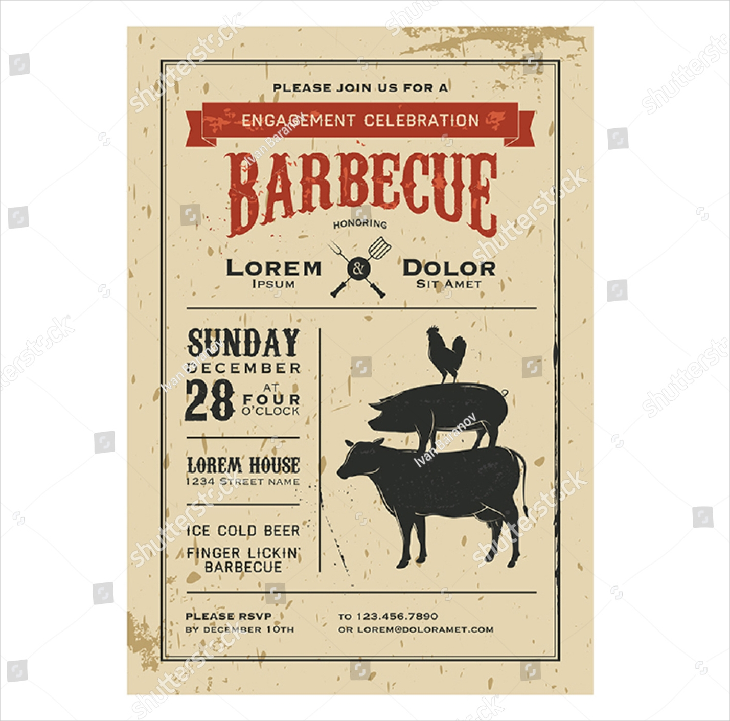 vintage barbecue invitation