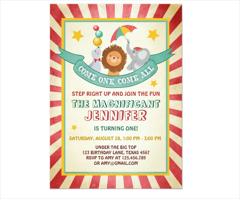 vintage carnival birthday invitation