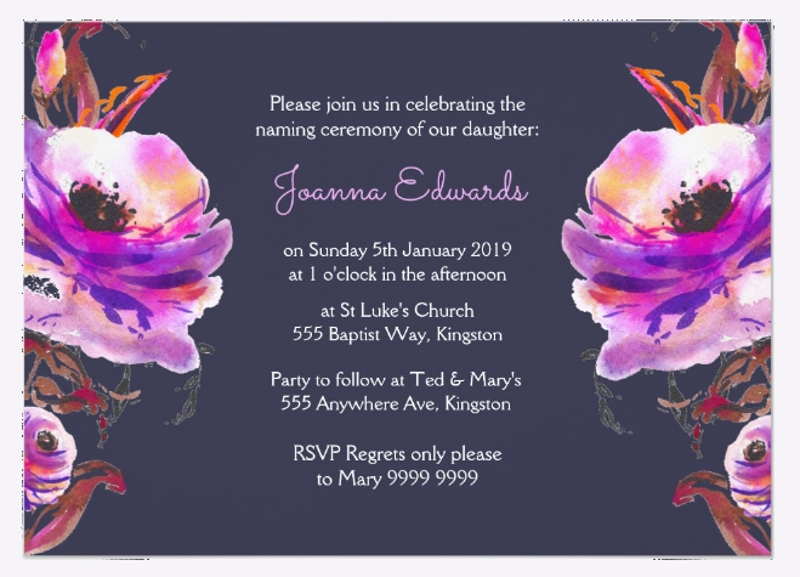 violet watercolor naming ceremony invitation