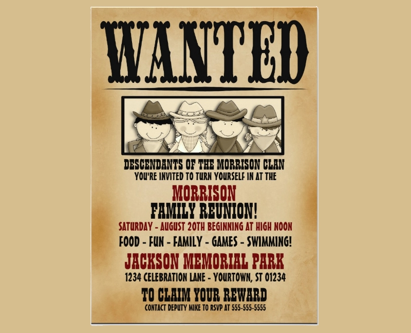 wanted poster family reunion barbeque invitation1