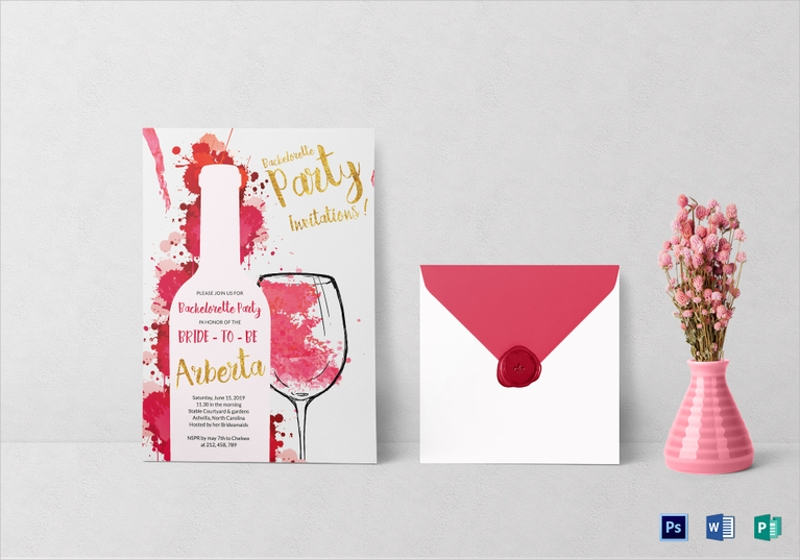 watercolor bachelorette party invitation
