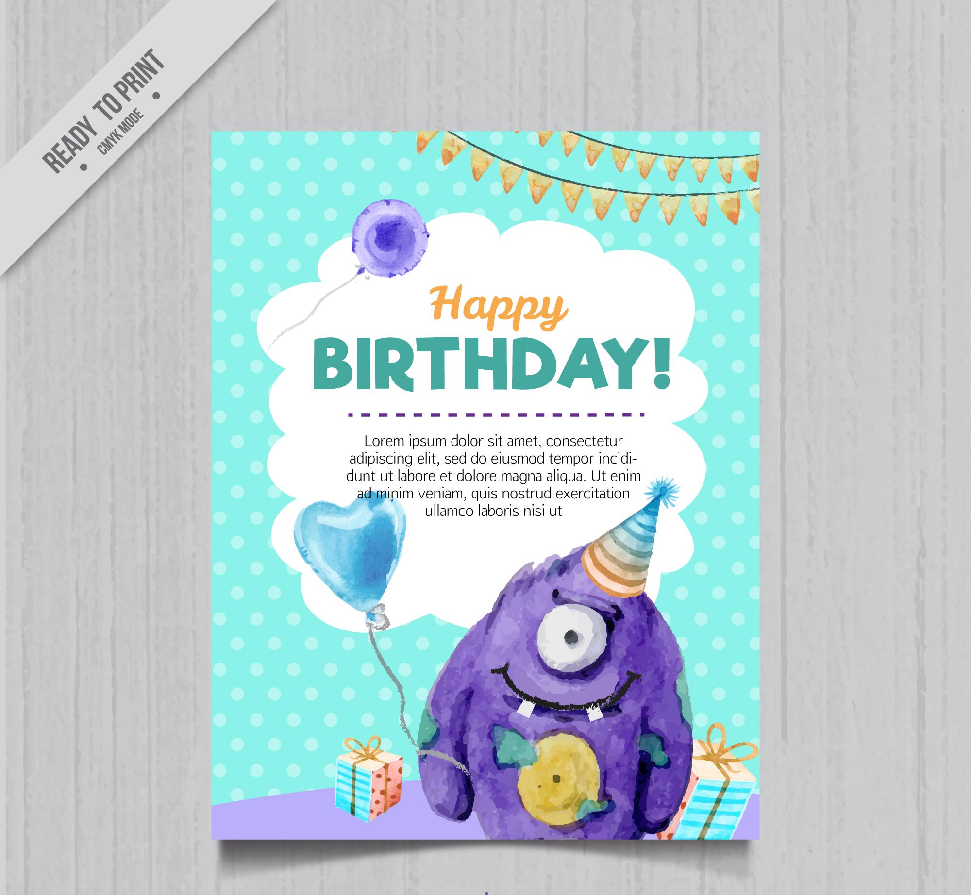 watercolor birthday invitation