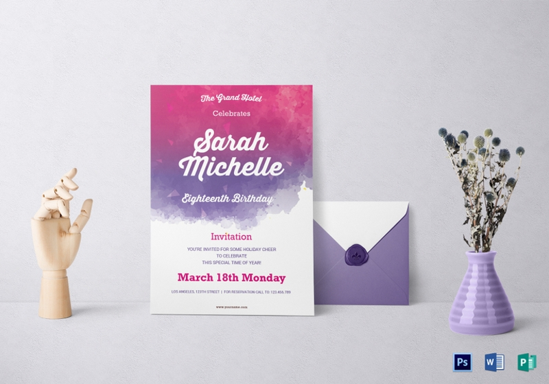 14 debut invitation designs examples psd ai eps vector watercolor debut invitation template stopboris Choice Image