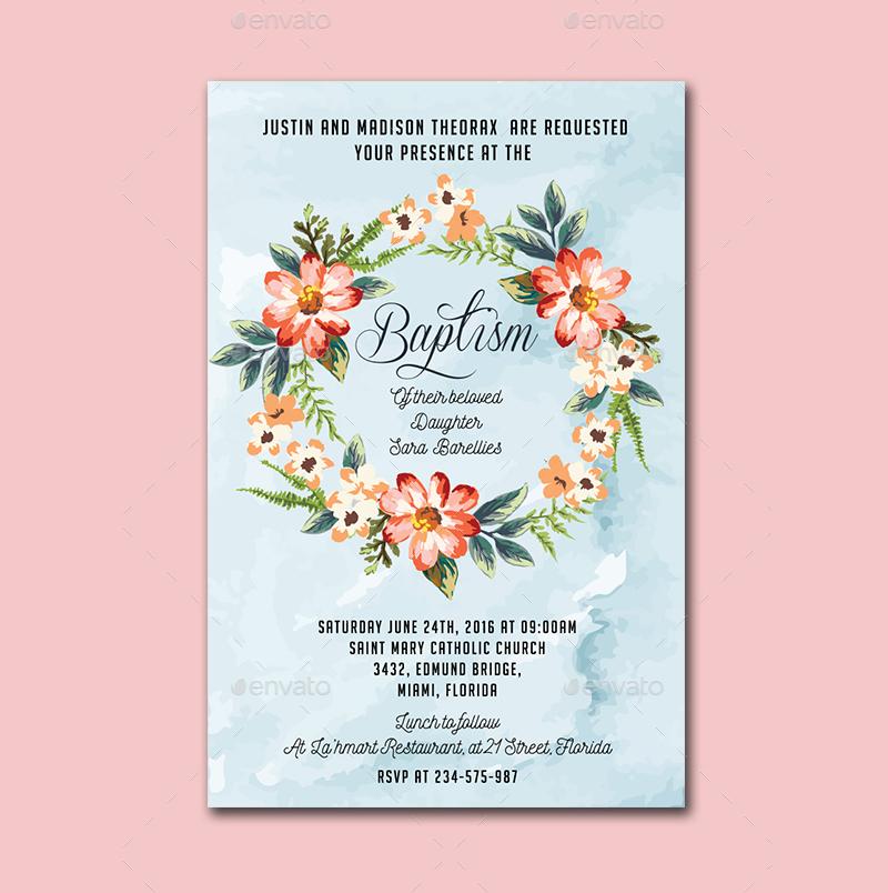 watercolor floral baptism invitation
