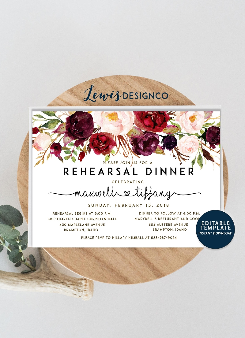 watercolor floral rehearsal dinner invitation1