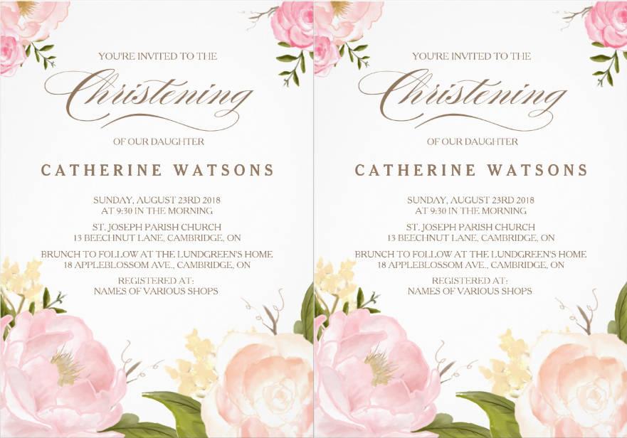 watercolor flower christening invitation