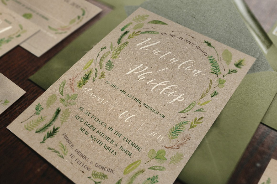 watercolor foliage wedding invitation