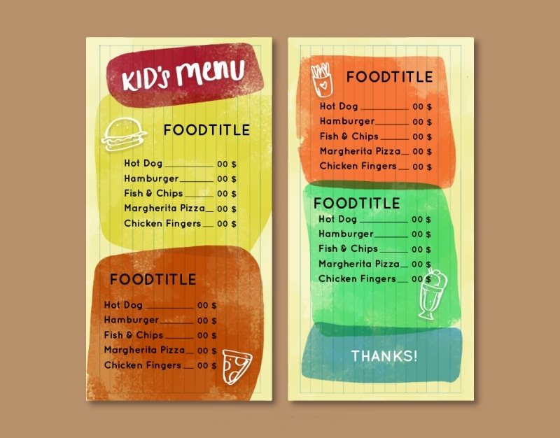 watercolor kids menu