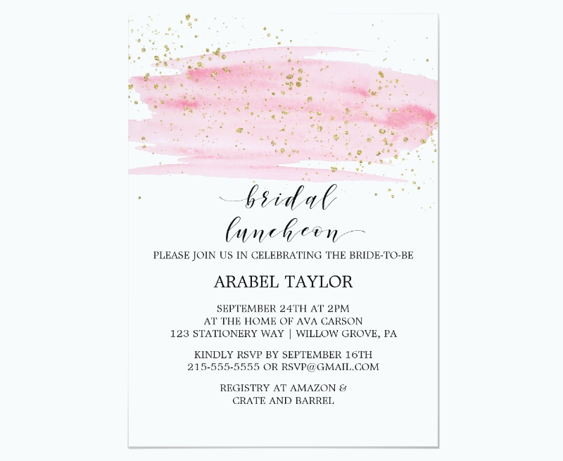 watercolor pink blush and gold bridal luncheon invitation1
