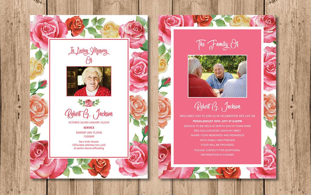 watercolor rose funeral invitation1
