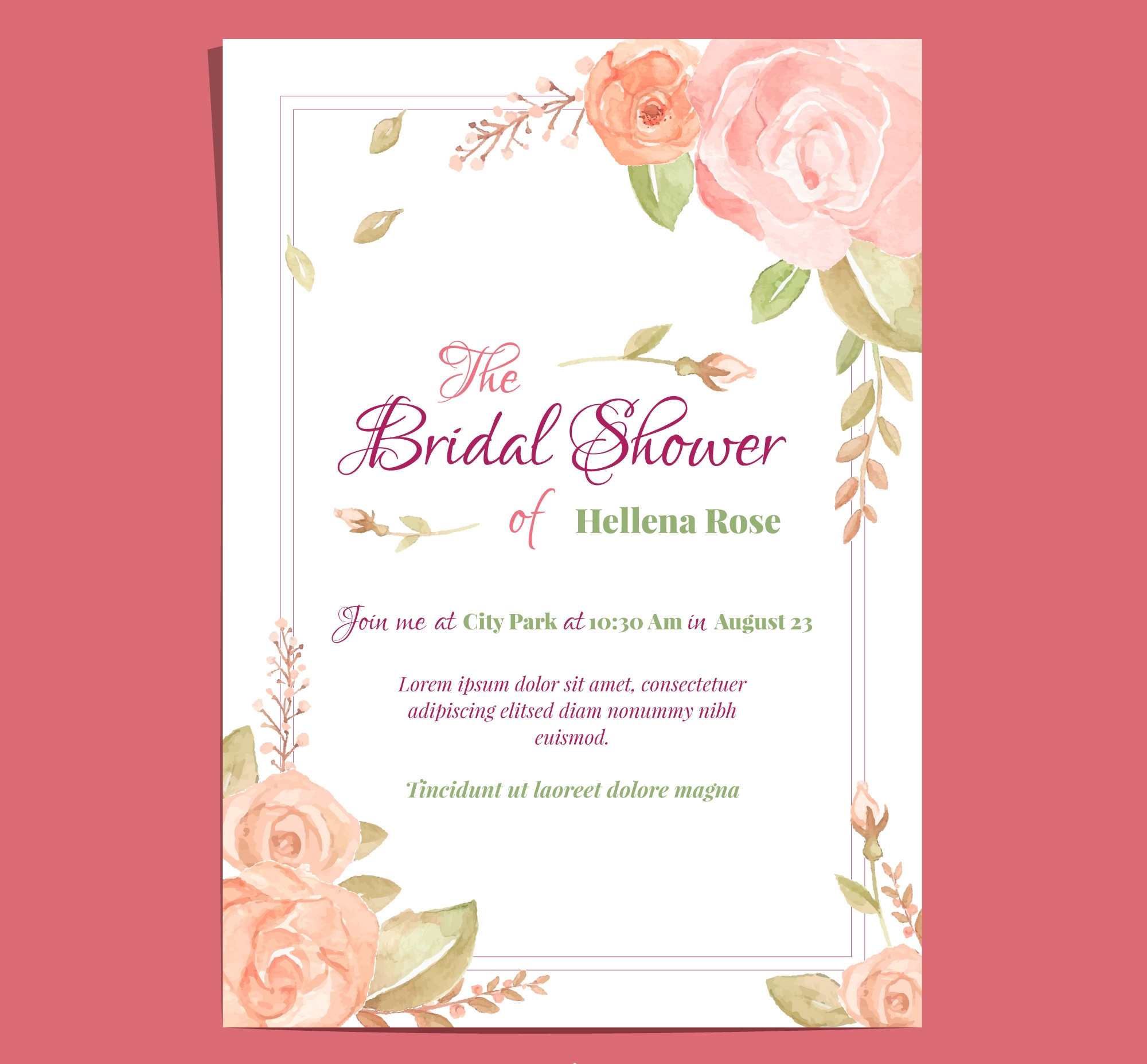 watercolor roses bridal party invitation