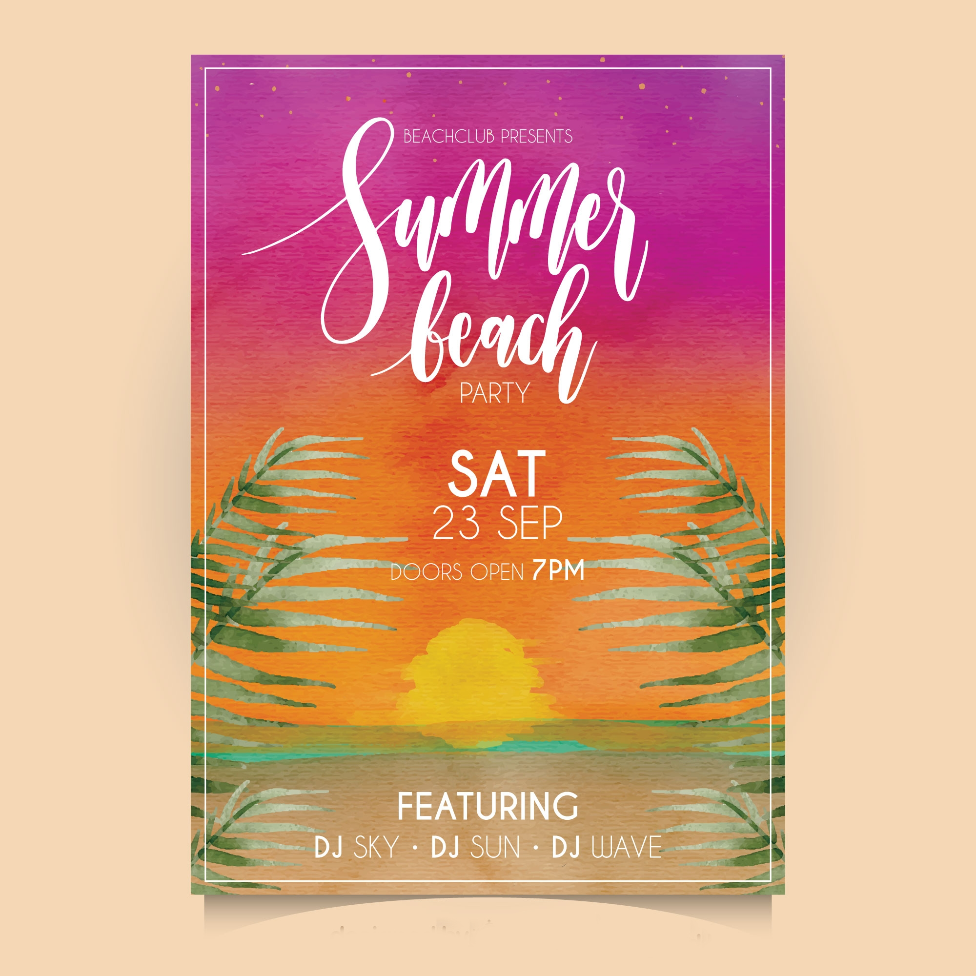 watercolor summer party invitation