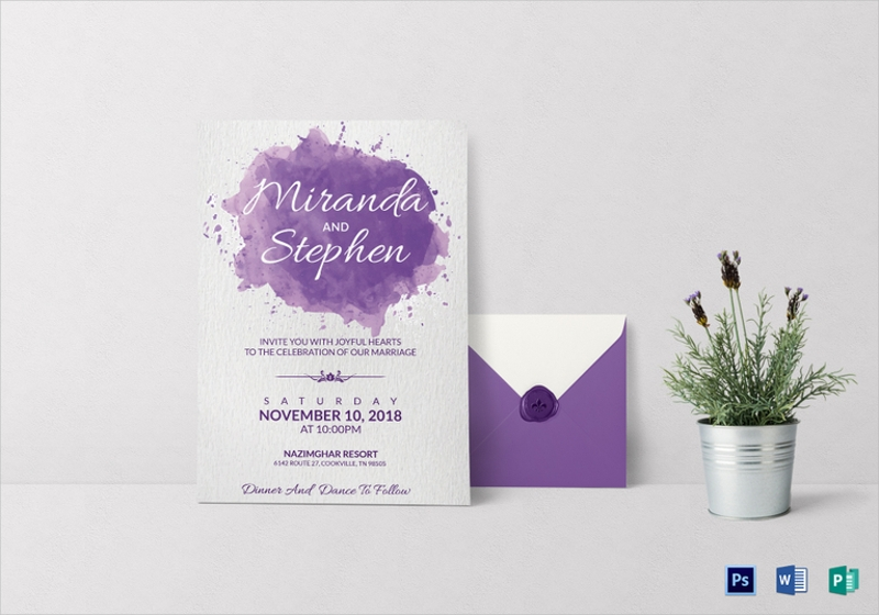 watercolor wedding invitation card template