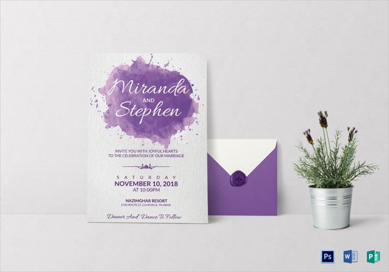 watercolor wedding invitation card template