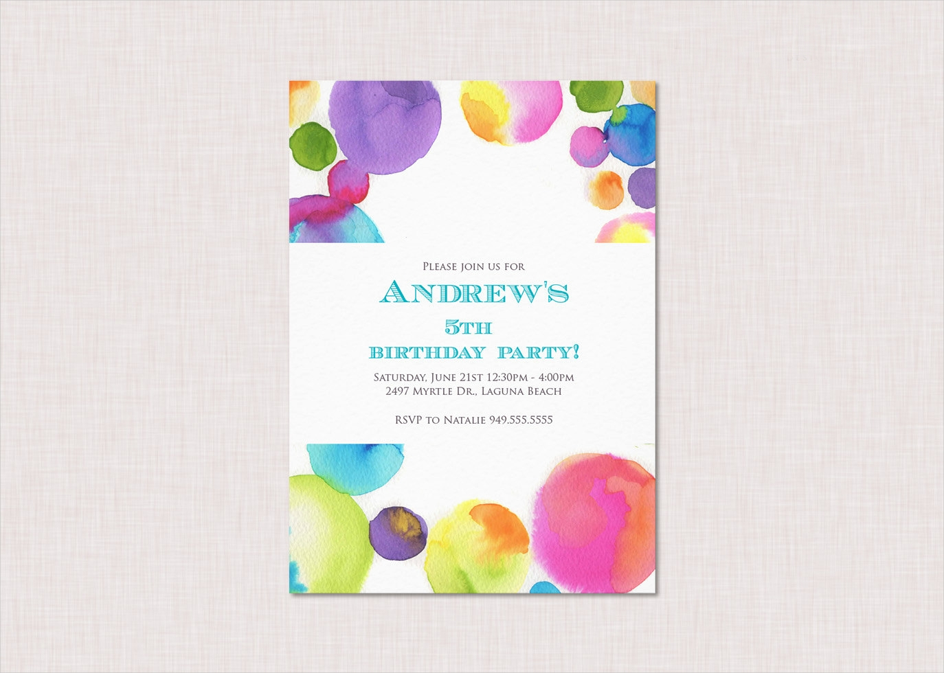 watercolour childrens birthday invitation