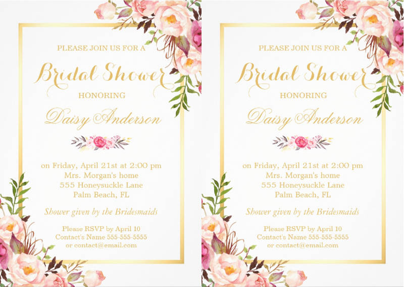 wedding bridal shower invitation design