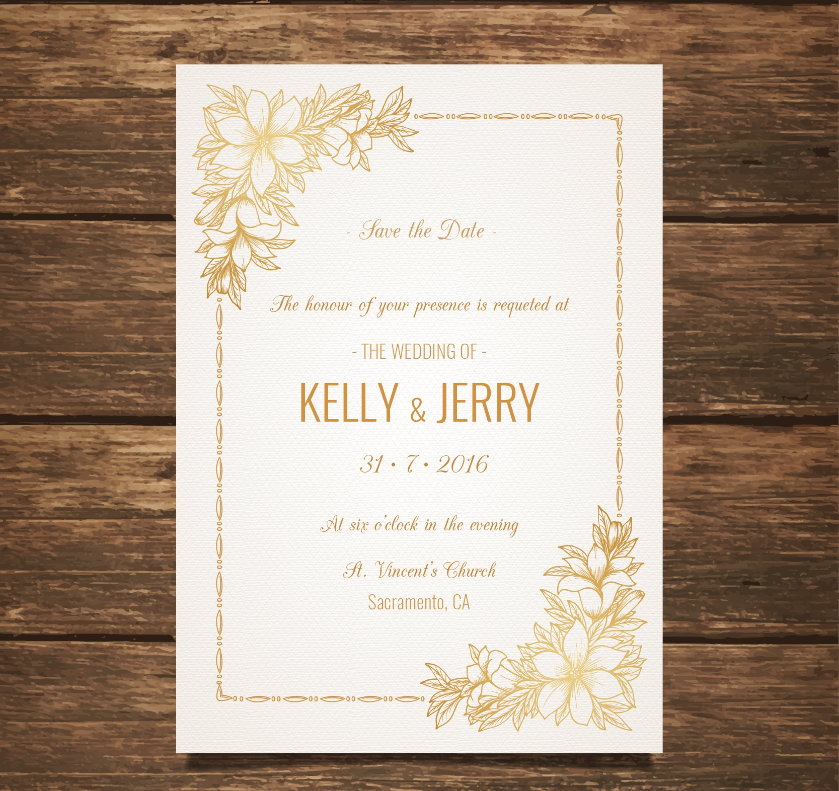 wedding invitation with golden flowers
