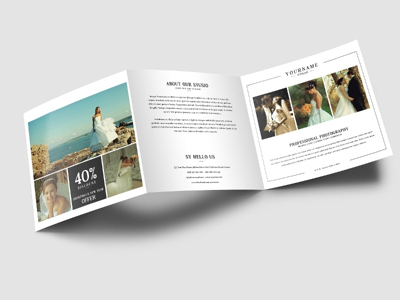 wedding photography square trifold brochure