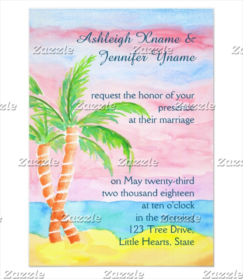 wedding resort palm tree painting invitation