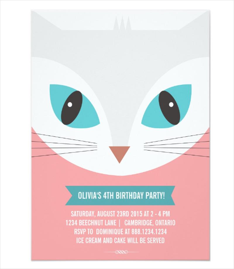 whimsical cat kids birthday invitation