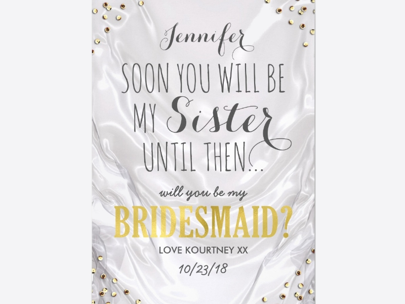 white gold bridesmaid invitation1