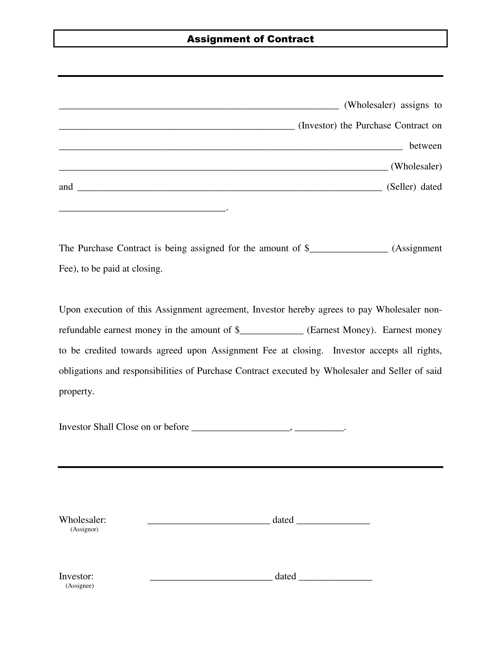 wholesale real estate assignment contract 1
