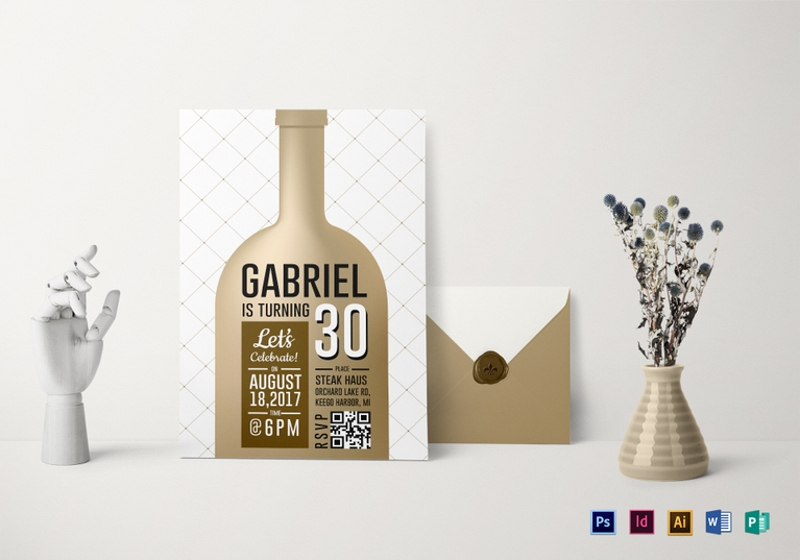 wine bottle adult birthday party invitation template