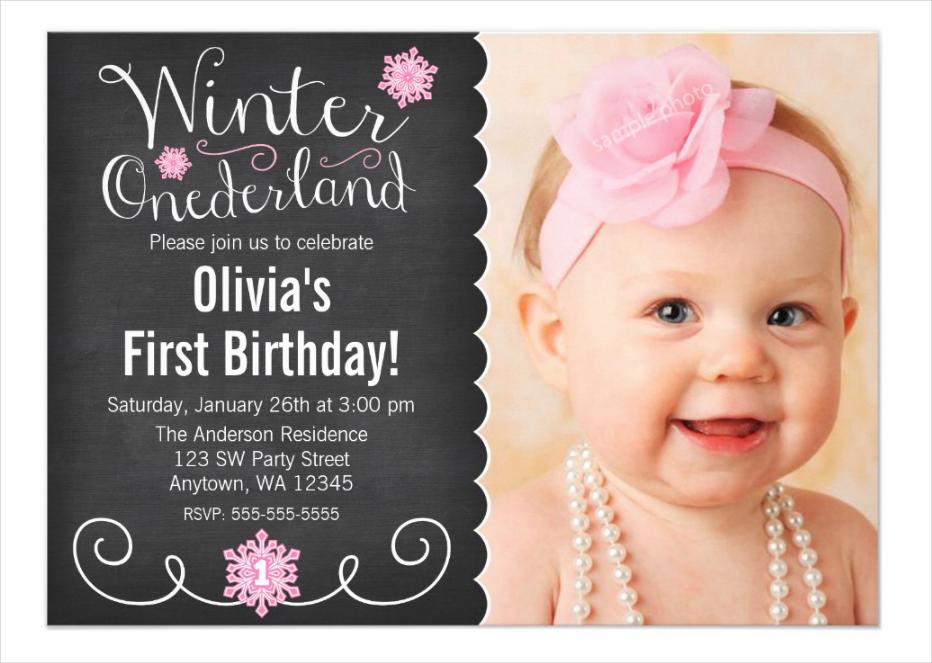 winter onederland photo first birthday invitation