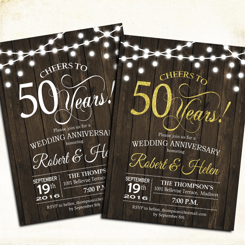 wood rustic 50th anniversary invitation