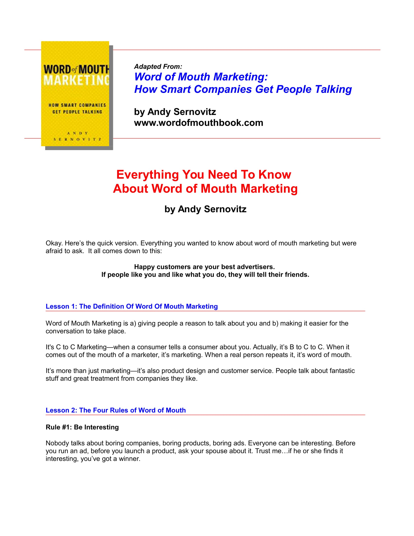 word of mouth marketing 2 1
